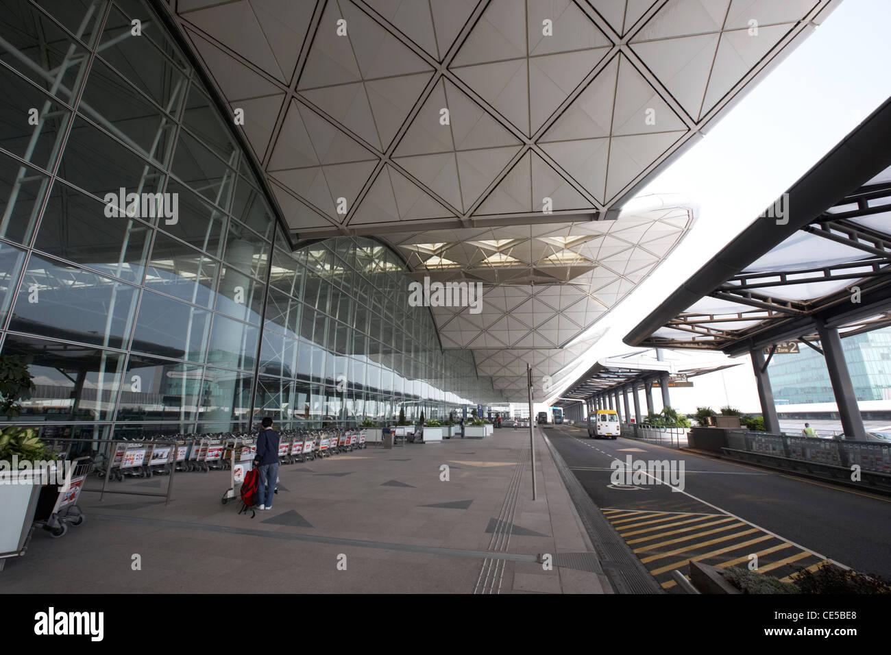 passenger entrance to hong kong international airport chek lap kok hksar china asia - Stock Image
