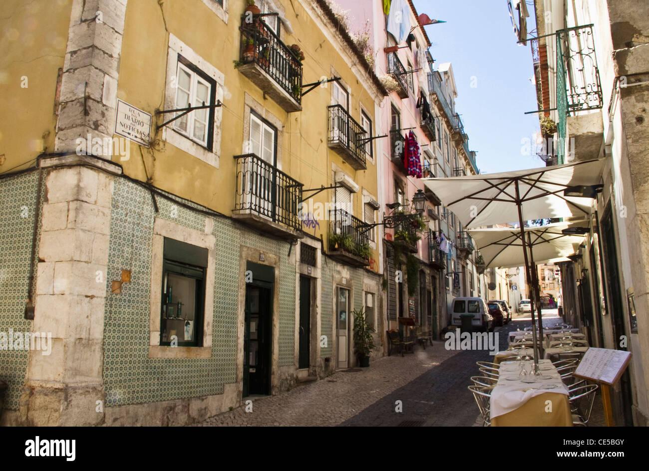 Portugal, Lisbon. Street in the Bairro Alto neighborhood. - Stock Image