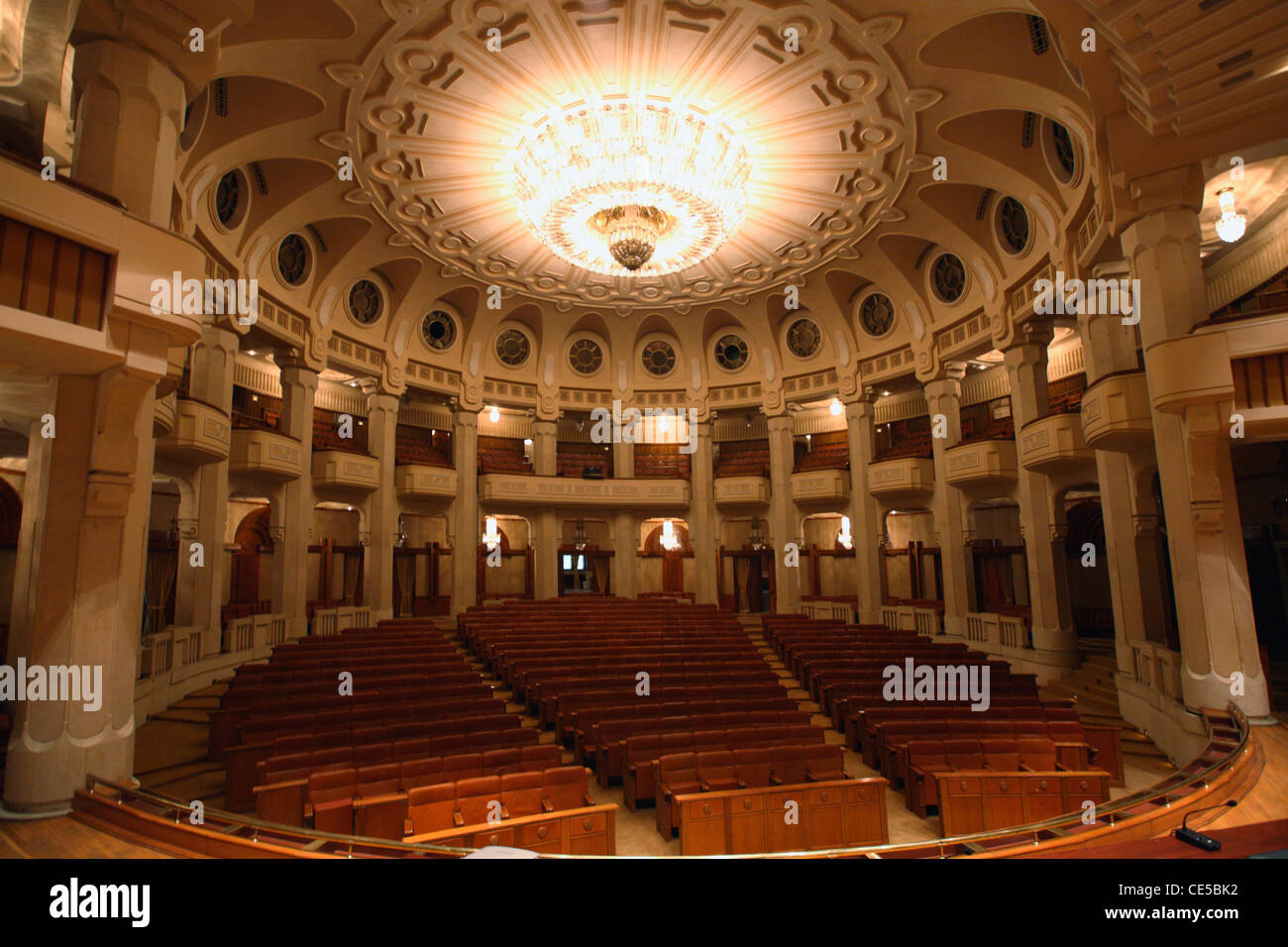Europe, Romania, Bucharest, The theatre of Palace of Parliament aka House of the people Stock Photo