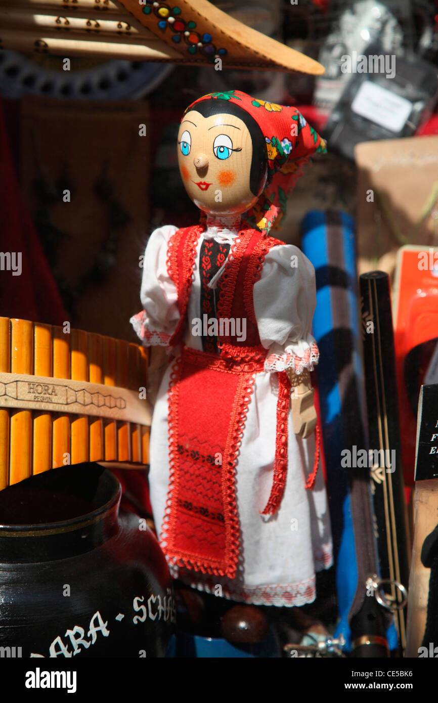 Europe, Romania, Sighisoara, Traditional style wooden doll for sale in a giftshop - Stock Image