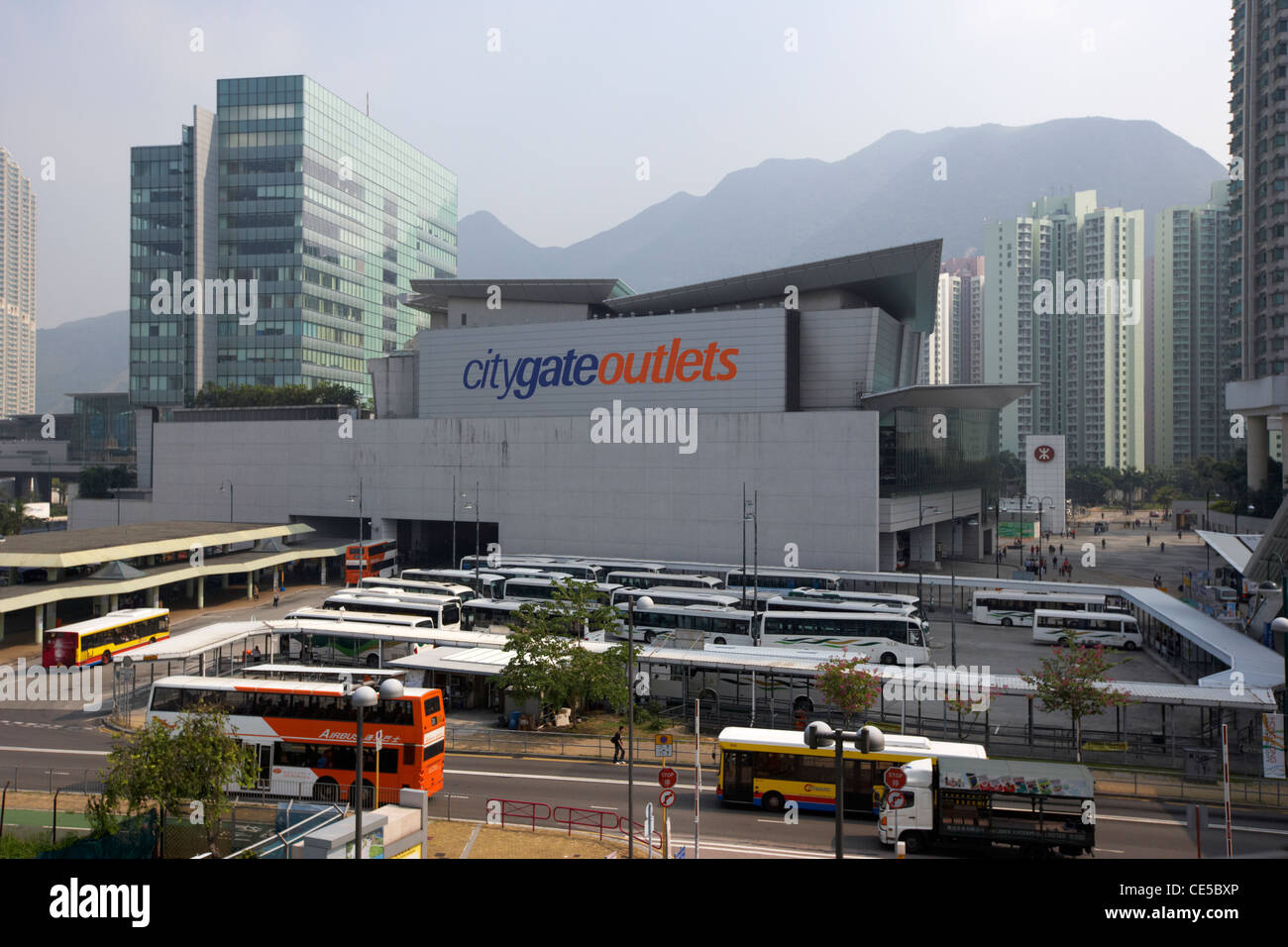 citygate outlets and bus station tung chung lantau island hong kong hksar china asia - Stock Image