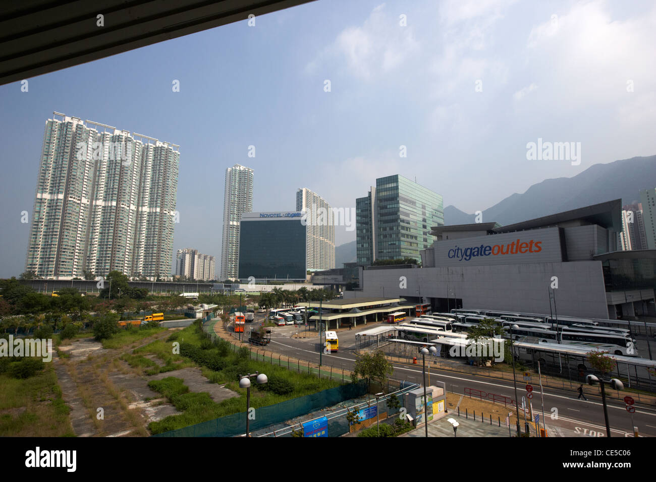 view of citygate outlets and tung chung lantau island hong kong hksar china asia - Stock Image