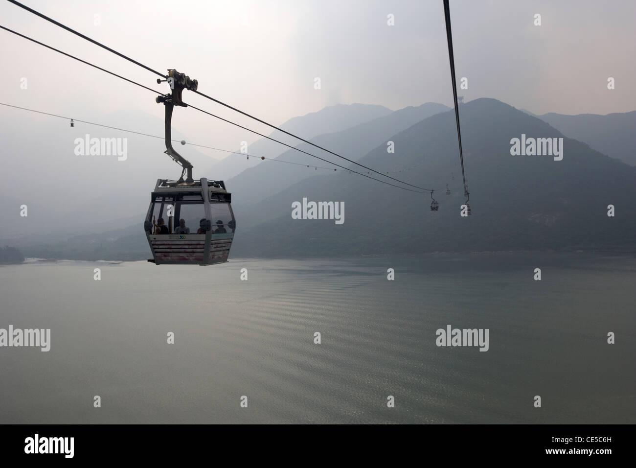 ngong ping 360 cable car over tung chung bay lantau island hong kong hksar china asia - Stock Image