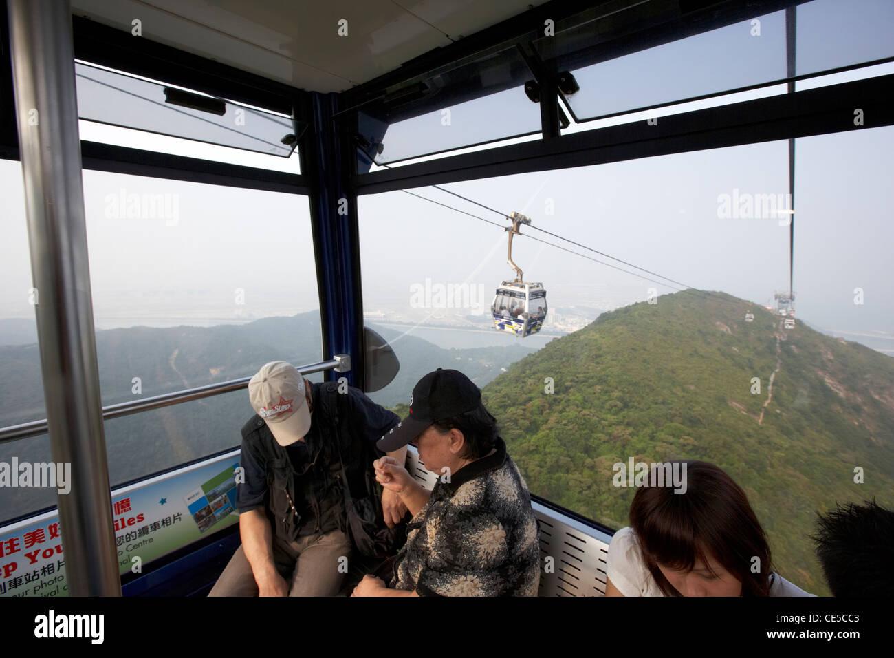inside cabin of ngong ping 360 cable car tung chung lantau island hong kong hksar china asia - Stock Image