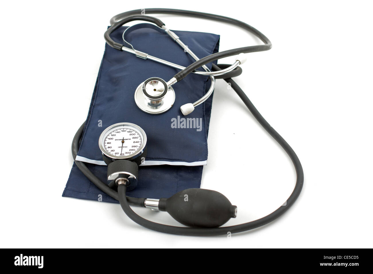 Blood pressure meter and stethoscope, isolated on white - Stock Image