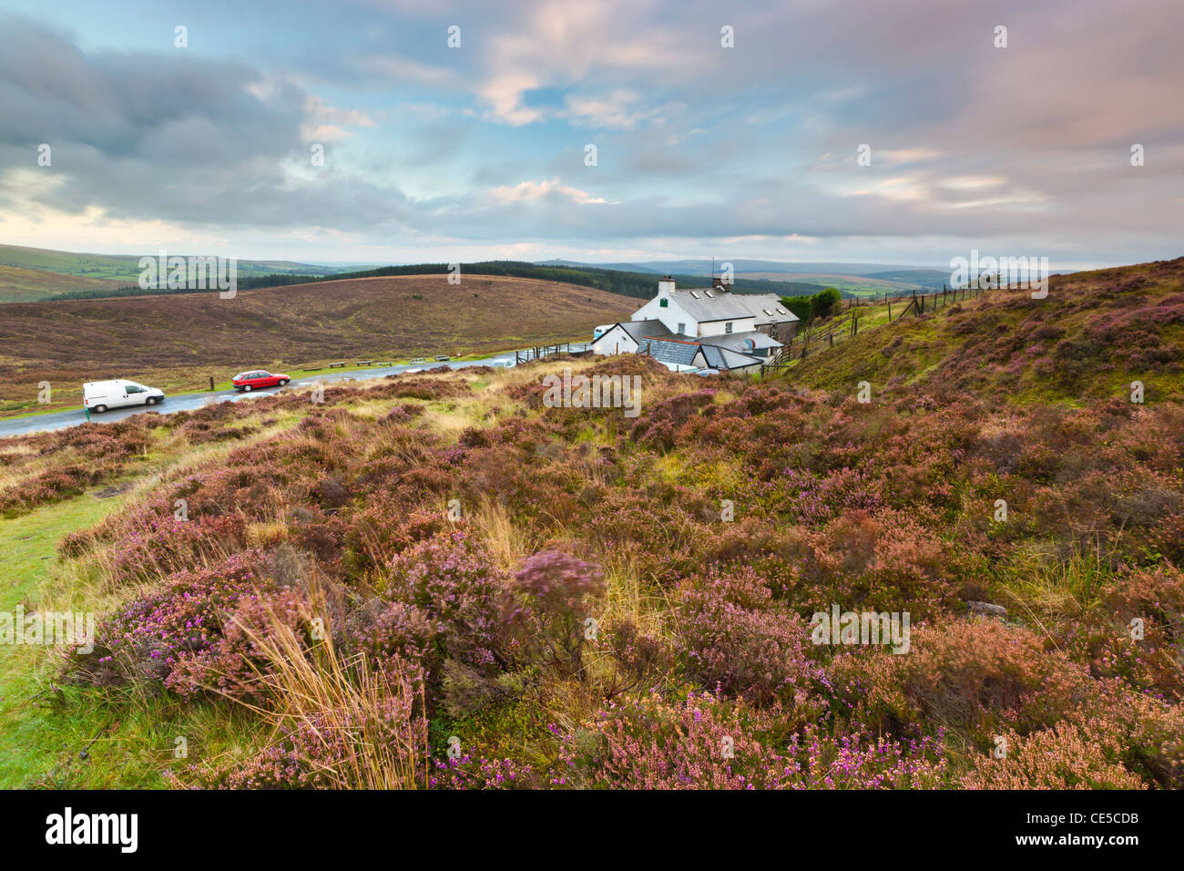View from Water Hill towards Warren House Inn, Dartmoor National Park, Postbridge, Devon, England, UK, Europe - Stock Image