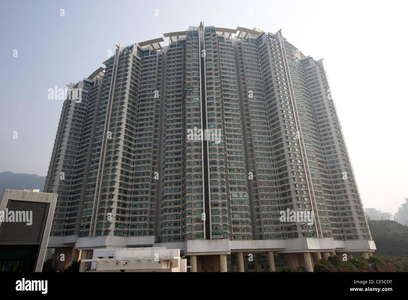 tung chung crescent apartment blocks lantau island hong kong hksar china asia - Stock Image