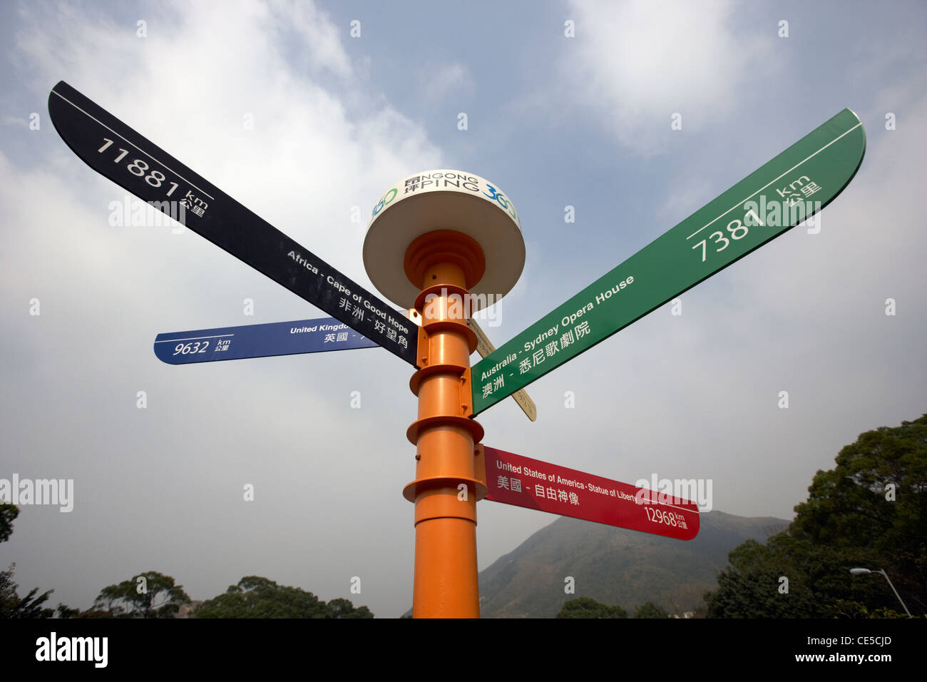 directions and distances signpost to various cities around the world including london sydney ngong ping village - Stock Image