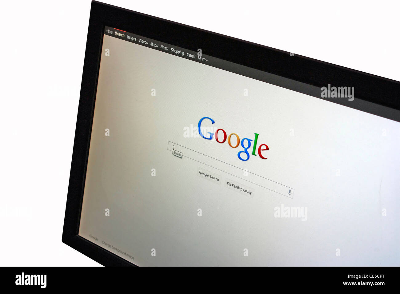A computer with the screen capture of the popular seach website Google taken in a browser - Stock Image