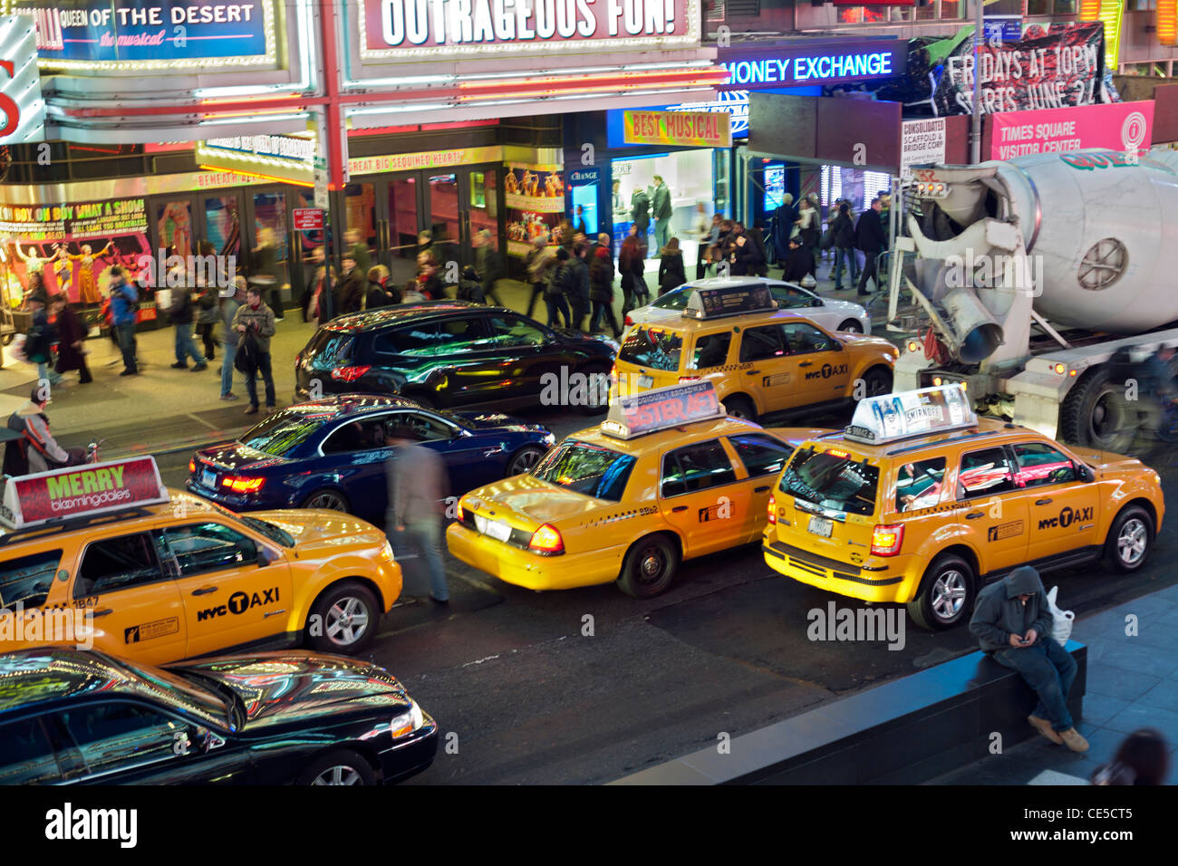 Taxis in Times Square - Stock Image