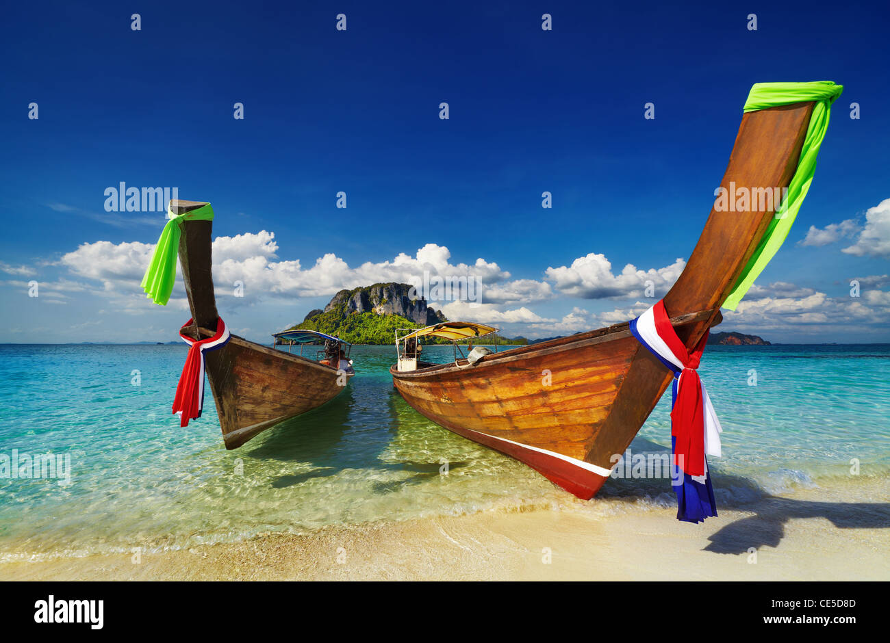 Longtail boats, Tropical beach, Andaman Sea, Thailand - Stock Image