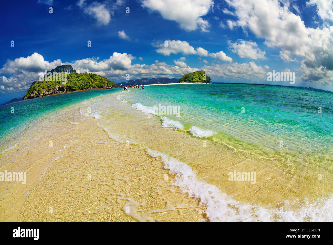 Tropical beach, Andaman Sea, Thailand, fisheye shot - Stock Image
