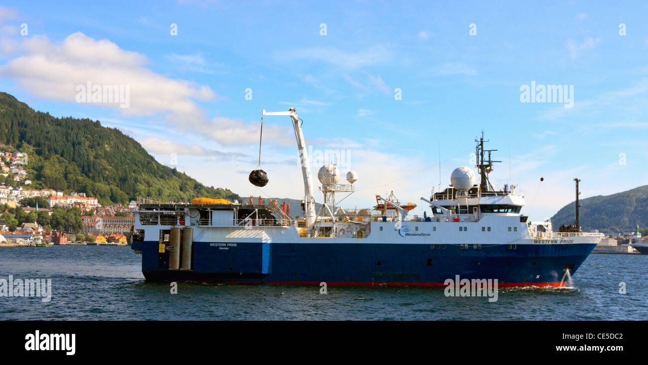 Geotechnical Survey Ship 'Western Pride' in the port of Bergen, Norway - Stock Image