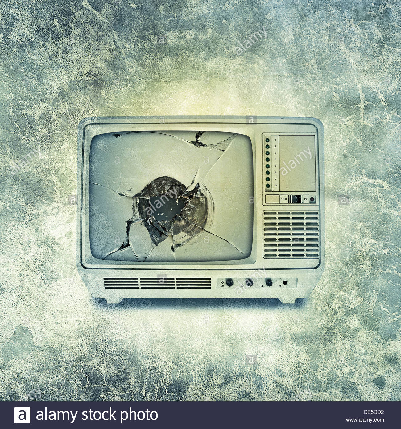 Old fashioned portable television set - Stock Image