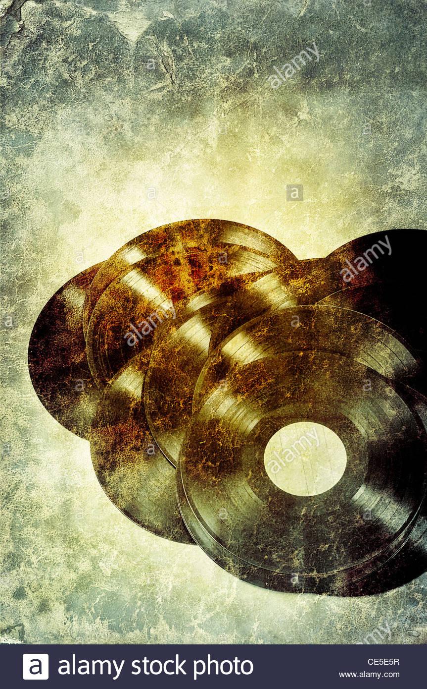 retro vinyl record - Stock Image