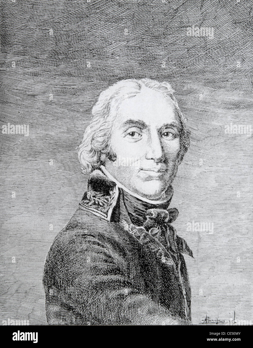 Portrait of Andre Massena, French General or Field Marshal (1758-1817) during revolutionary & Napoleonic Wars. Vintage Illustration or Engraving Stock Photo