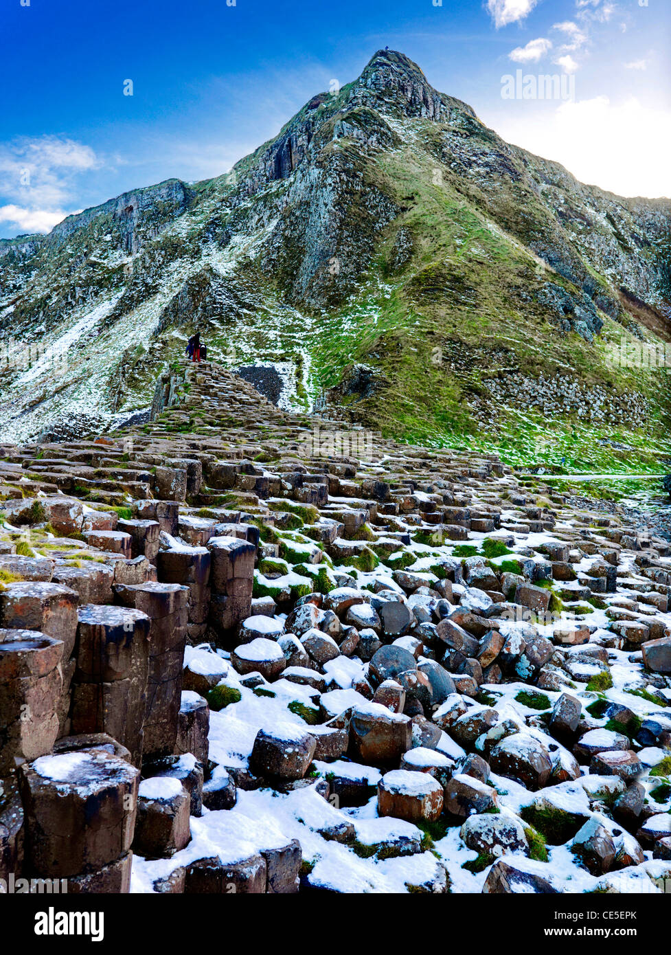 Giant's Causeway in the Snow, Co. Antrim, Northern Ireland - Stock Image
