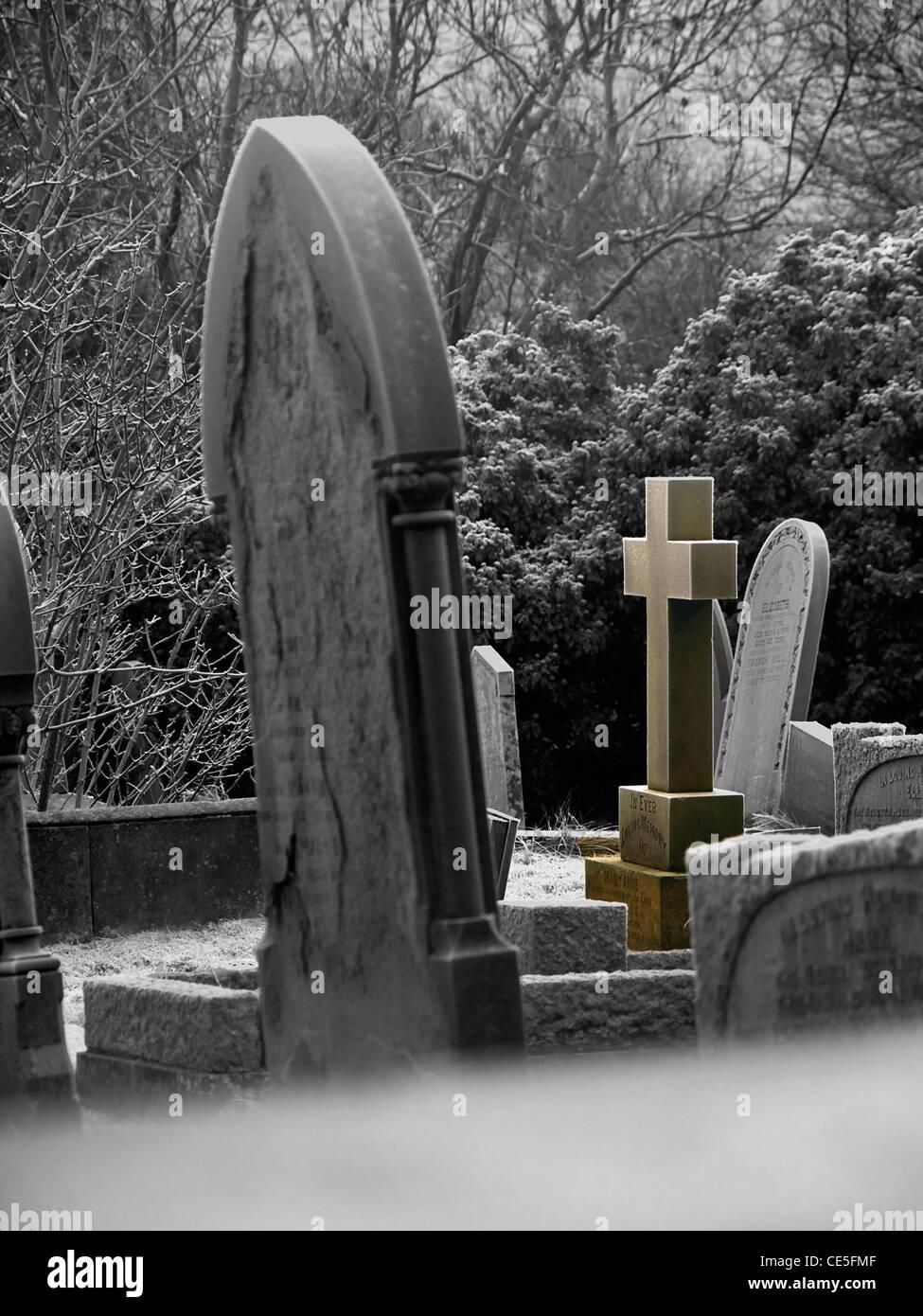 headstones in Castleton churchyard - Stock Image