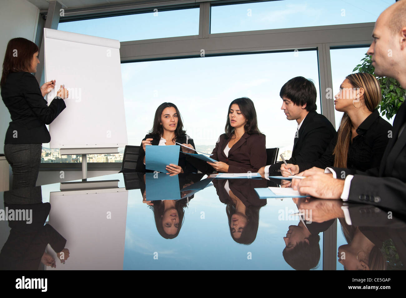 boardroom presentation in a nice office with panorama view - six persons - Stock Image