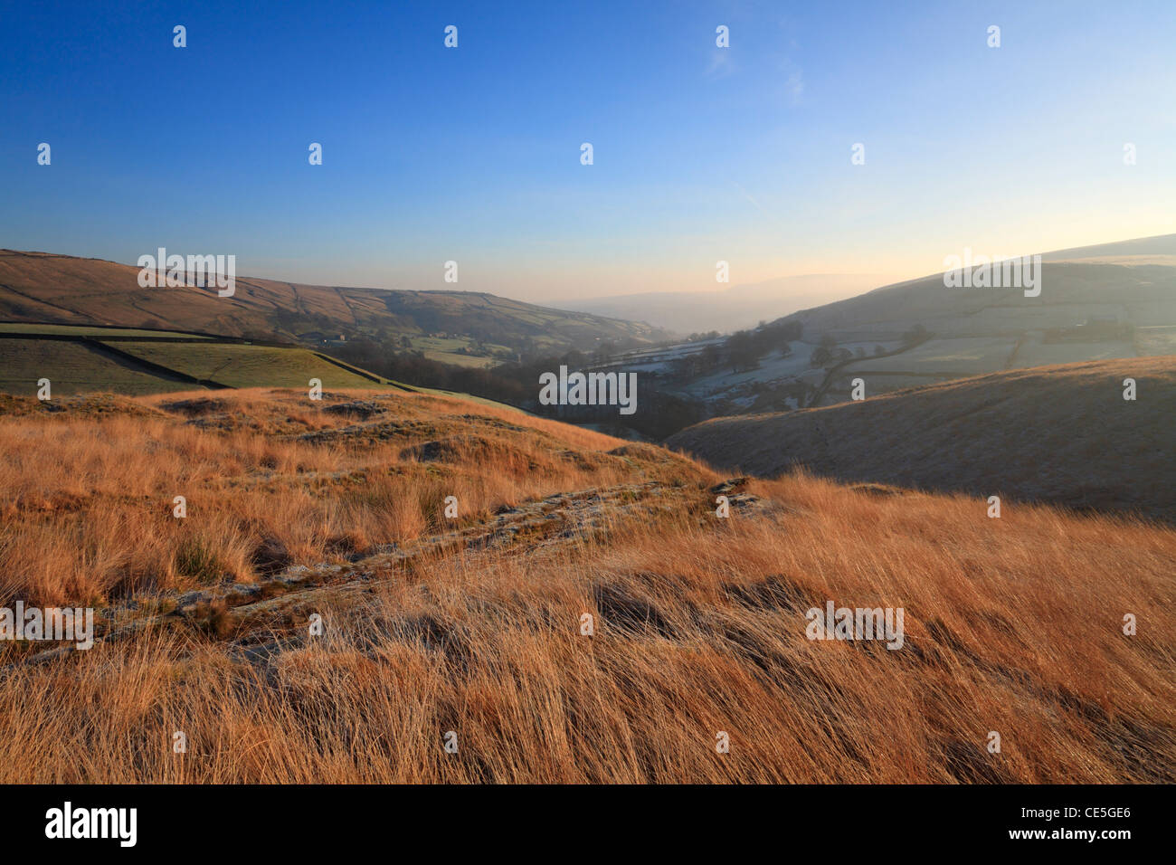 Winter morning on Close Moss above Marsden, Colne Valley, West Yorkshire, England, UK. - Stock Image