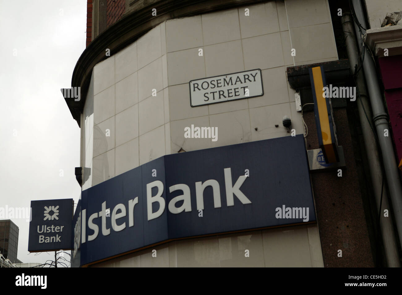 Ulster Bank Sign, Rosemary Street sign, Royal Bank of Scotland Logo, Navy blue and white corporate sign. - Stock Image