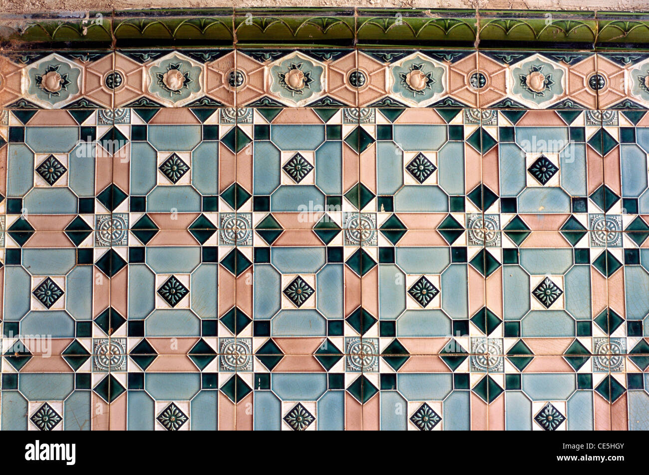 Wall tiles on St Alex church ; Calangute ; Goa ; India - Stock Image