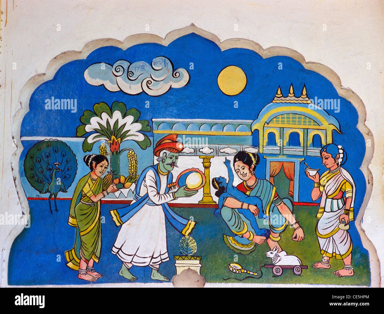 Wall painting of lord Rama wanting moon Ramayana story in