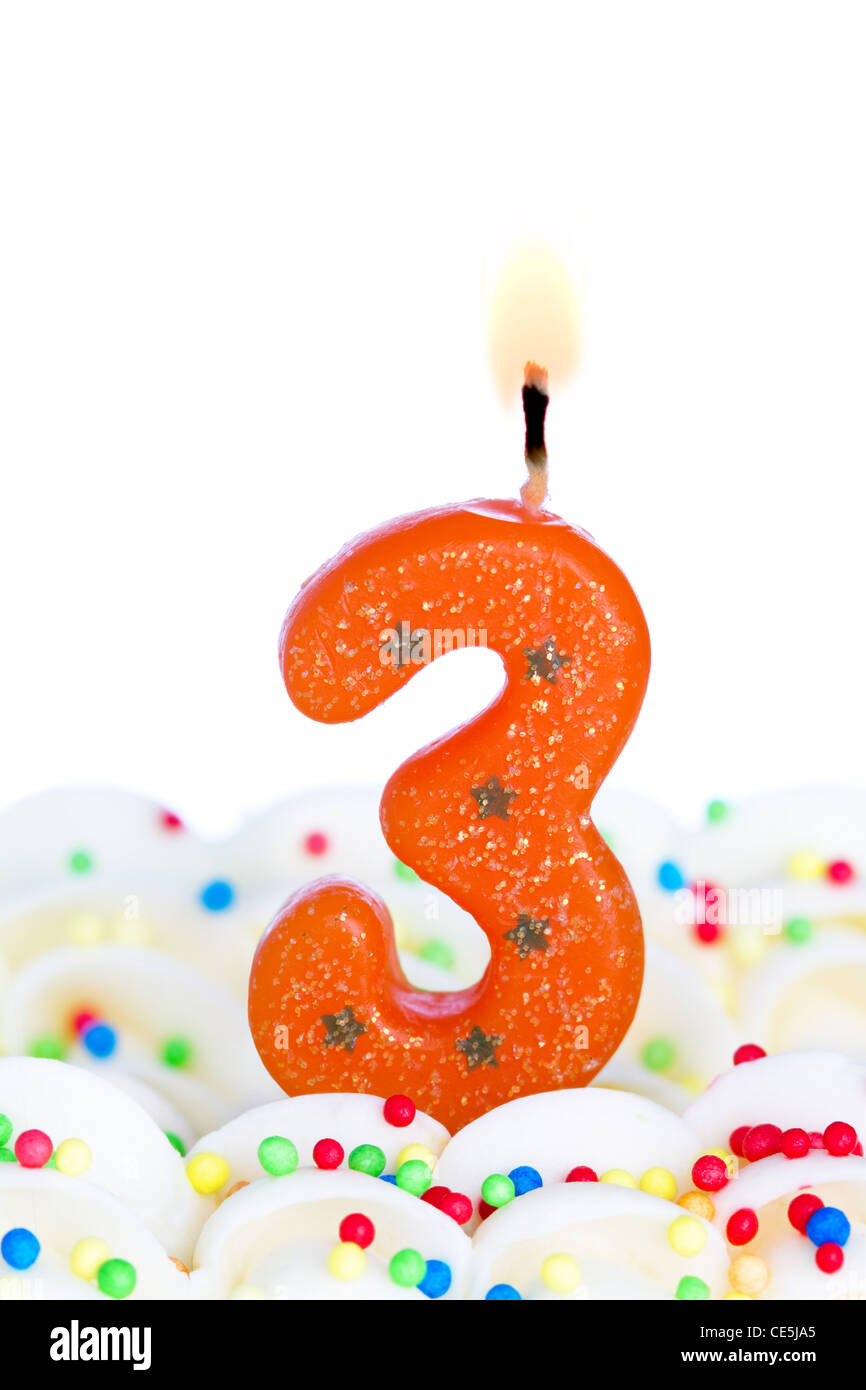 Number Three Birthday Candle Stock Photo  43150077