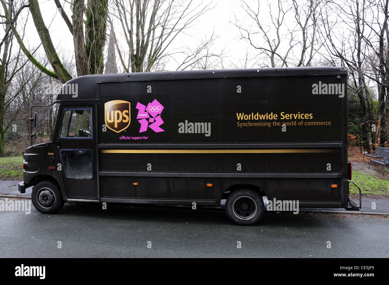 UK UPS delivery van with 2012 logo - Stock Image