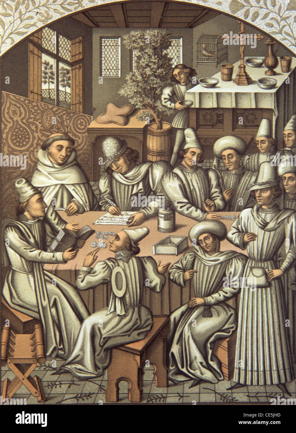 Medieval Bookkeeping , Bookkeepers, Debt Collectors, Debt Collecting or Accountants (1466) in Rouen, France - Stock Image