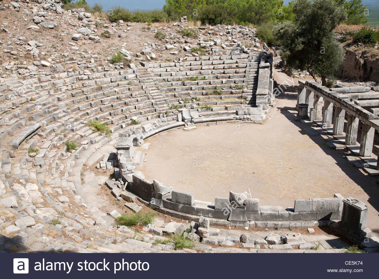 asia,turkey,southern aegean coast,priene,archeological area,theatre Stock Photo
