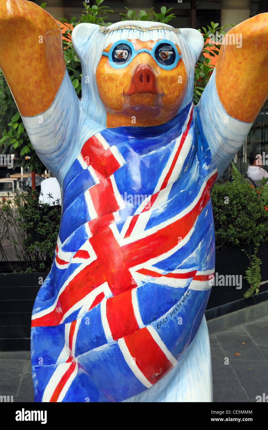 United Buddy Bear of Great Britain in the worldwide peace exhibition. Kuala Lumpur, Wilayah Persekutuan, Malaysia - Stock Image