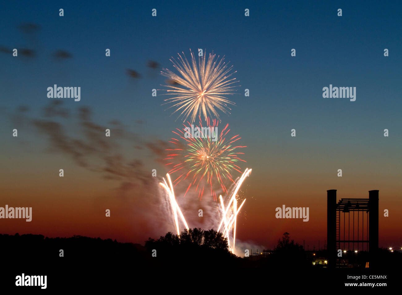 Fourth of July fireworks display in Boise, Idaho, USA. - Stock Image