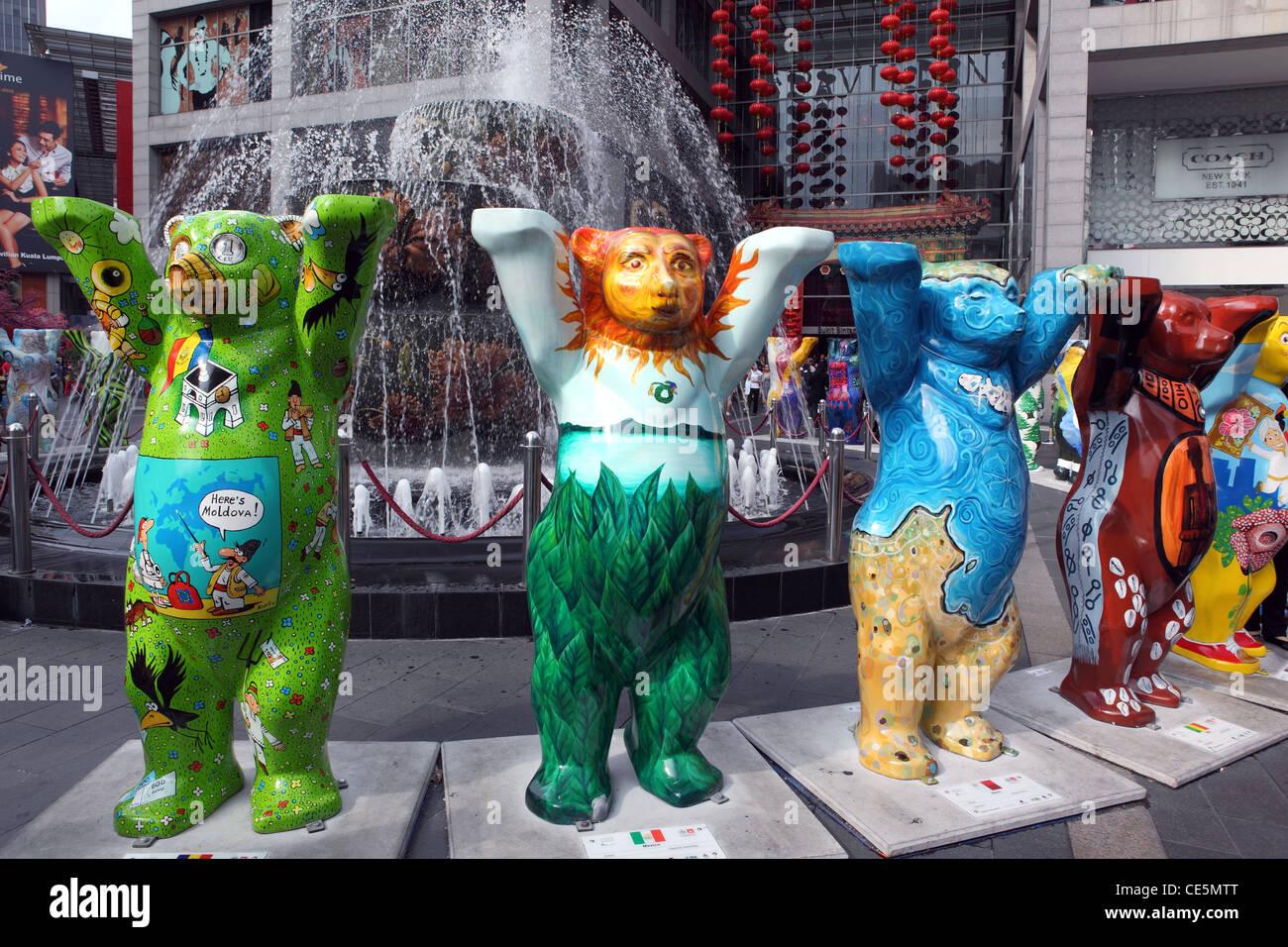 United Buddy Bears worldwide peace exhibition. Kuala Lumpur, Wilayah Persekutuan, Malaysia, South-East Asia, Asia - Stock Image