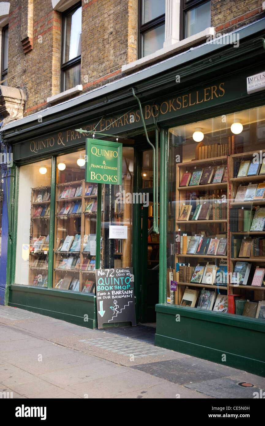 72 Charing Cross Road London Quinto & Francis Edwards Antiquarian Booksellers landmark bookshop not 84 since - Stock Image