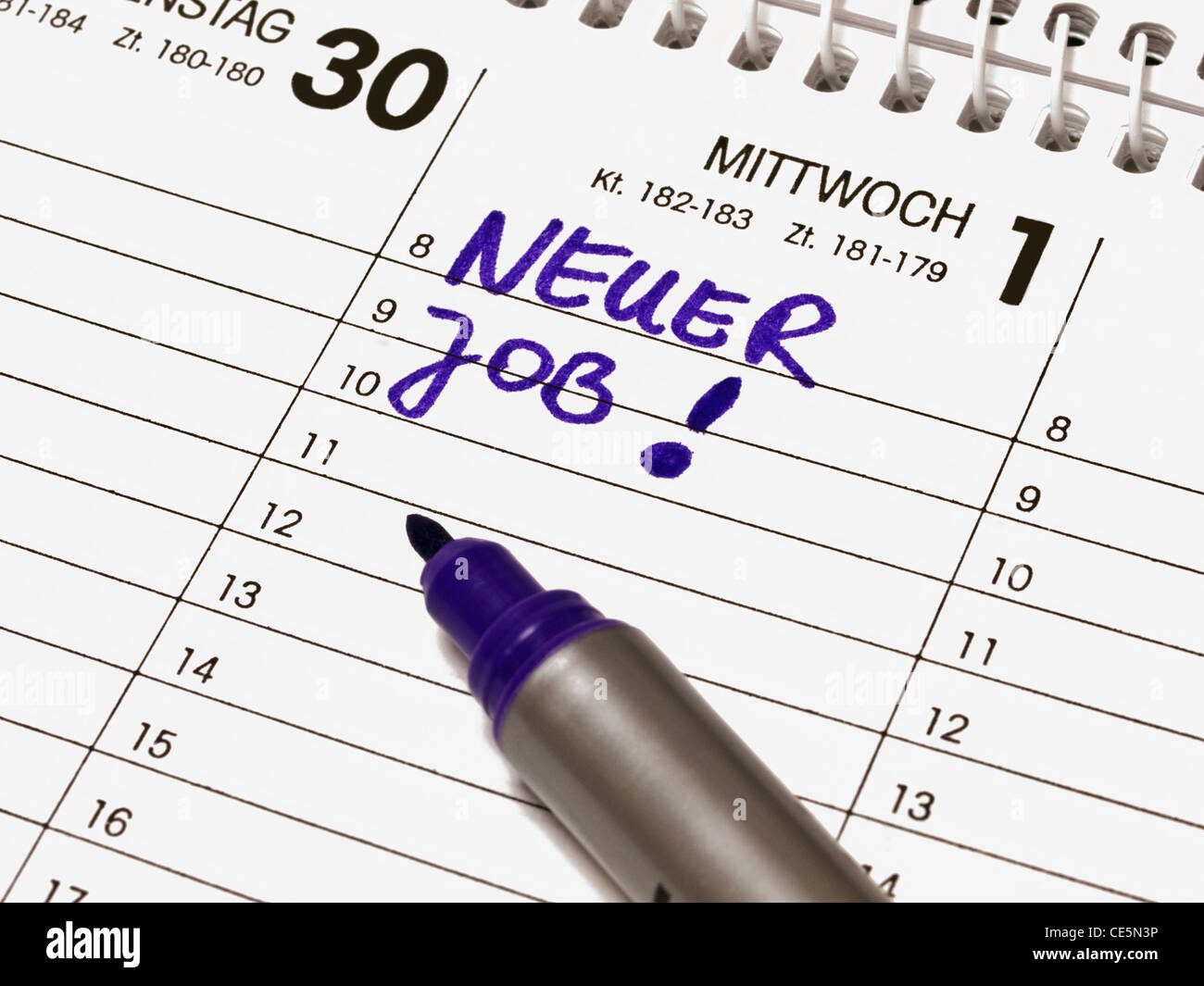 A calendar shows Wednesday the first day, of a month. The item New Job is in the calendar written with German words. - Stock Image