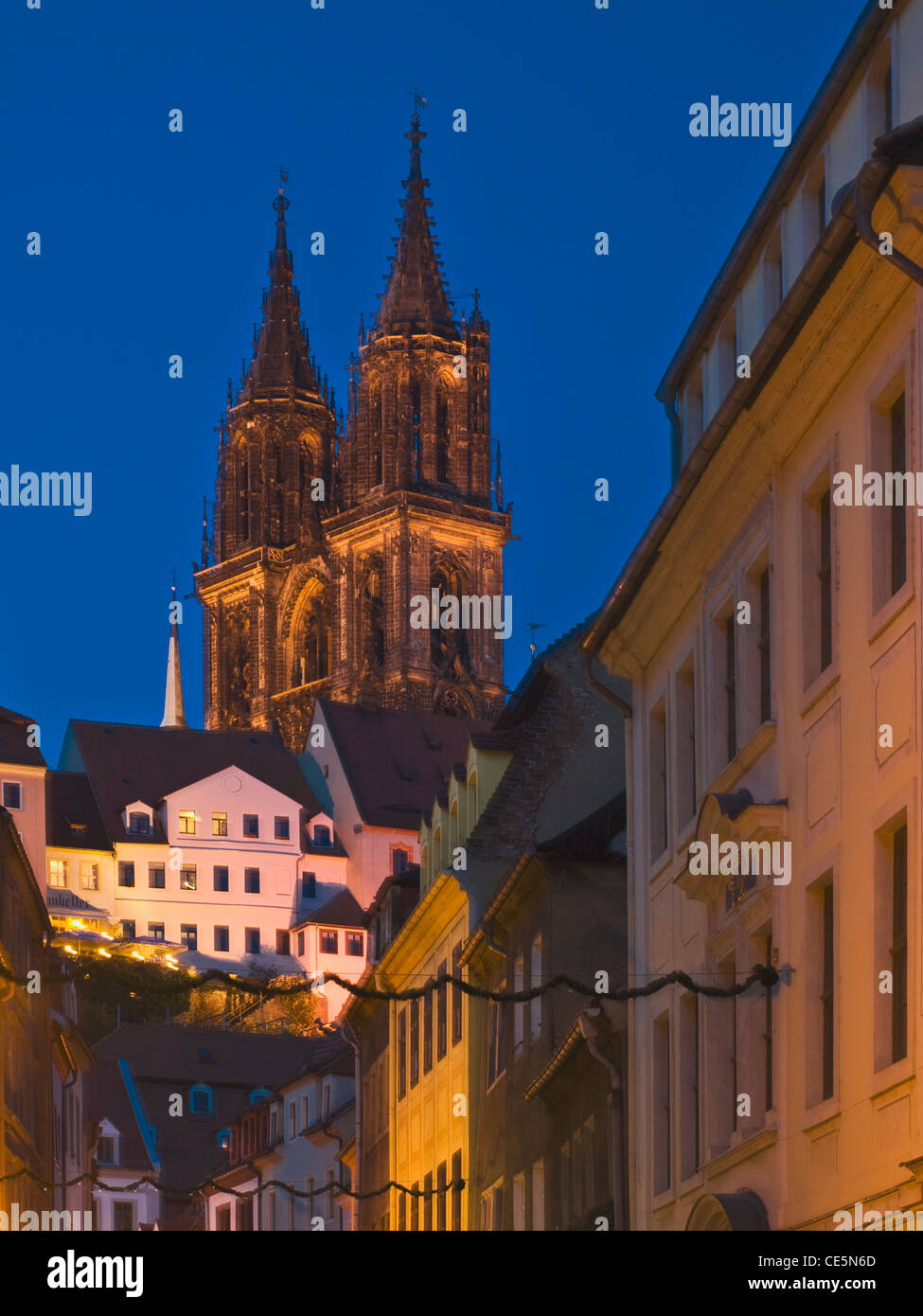 view from Burgstrasse-street to Meissen Cathedral, Meissen, Saxony, Germany, Europe - Stock Image