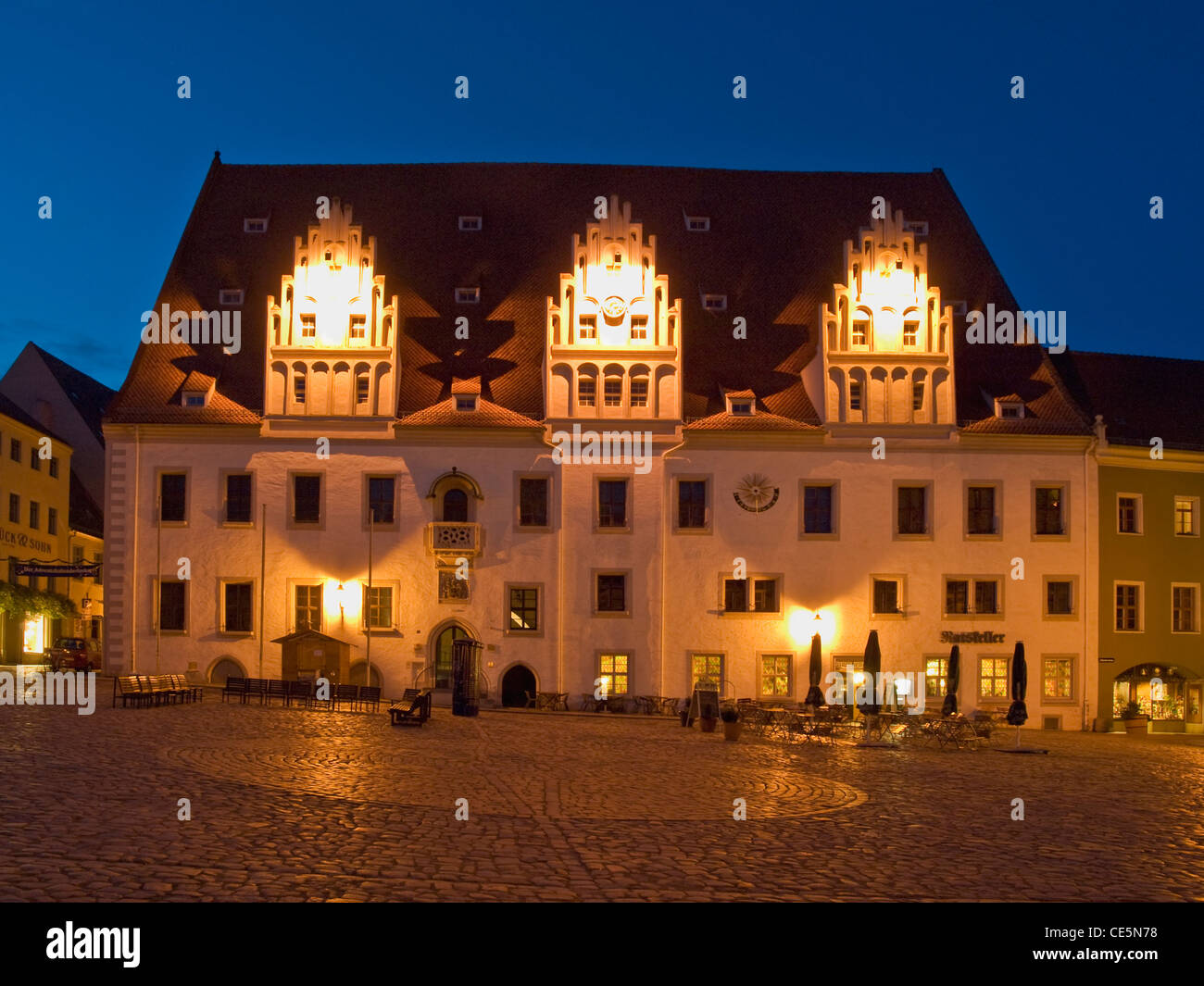 late Gothic styled Meissen guildhall, Meissen, Saxony, Germany, Europe - Stock Image
