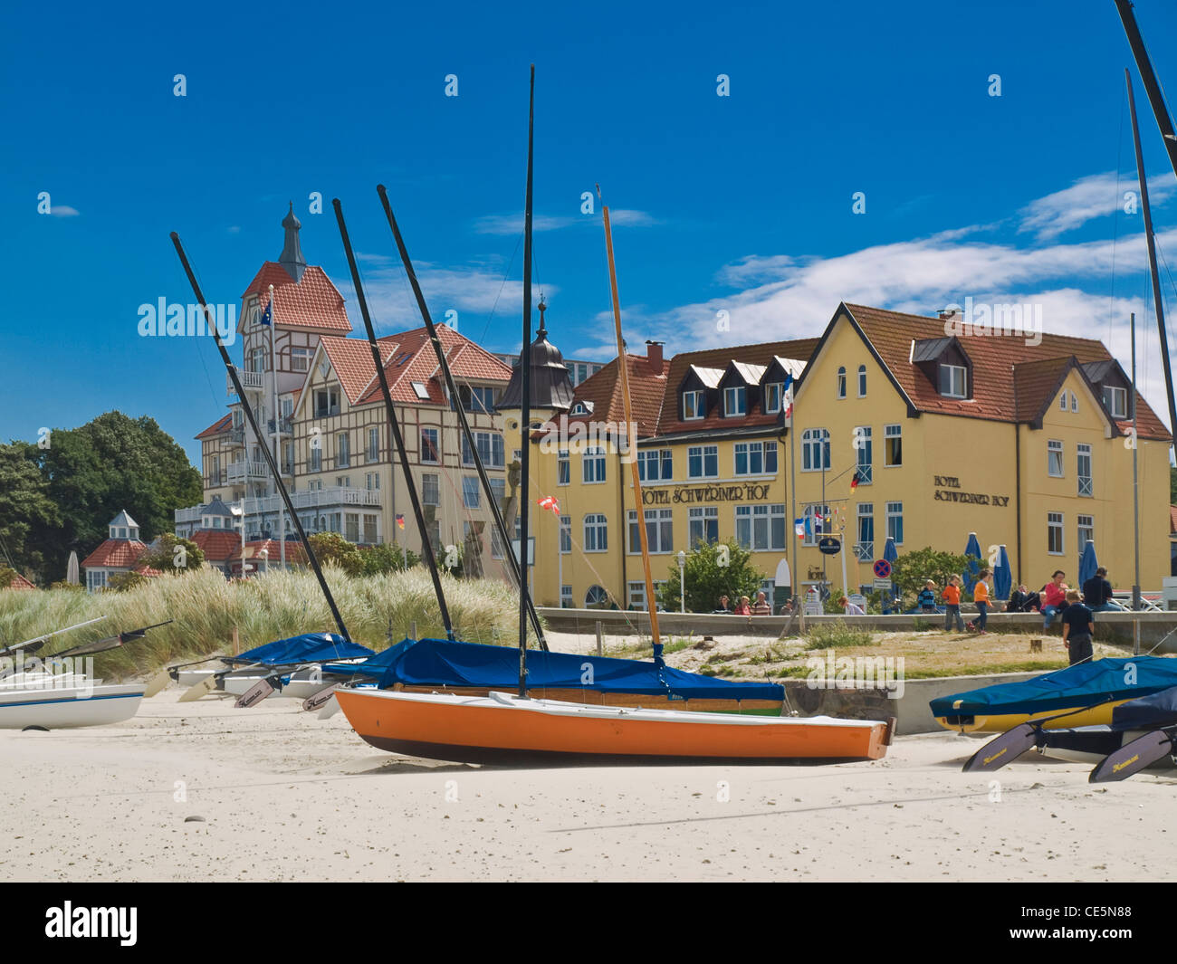 View from the Beach to the Baltic-Square with the Schwerin Court Hotel and House Oceanview, Kuehlungsborn Germany - Stock Image