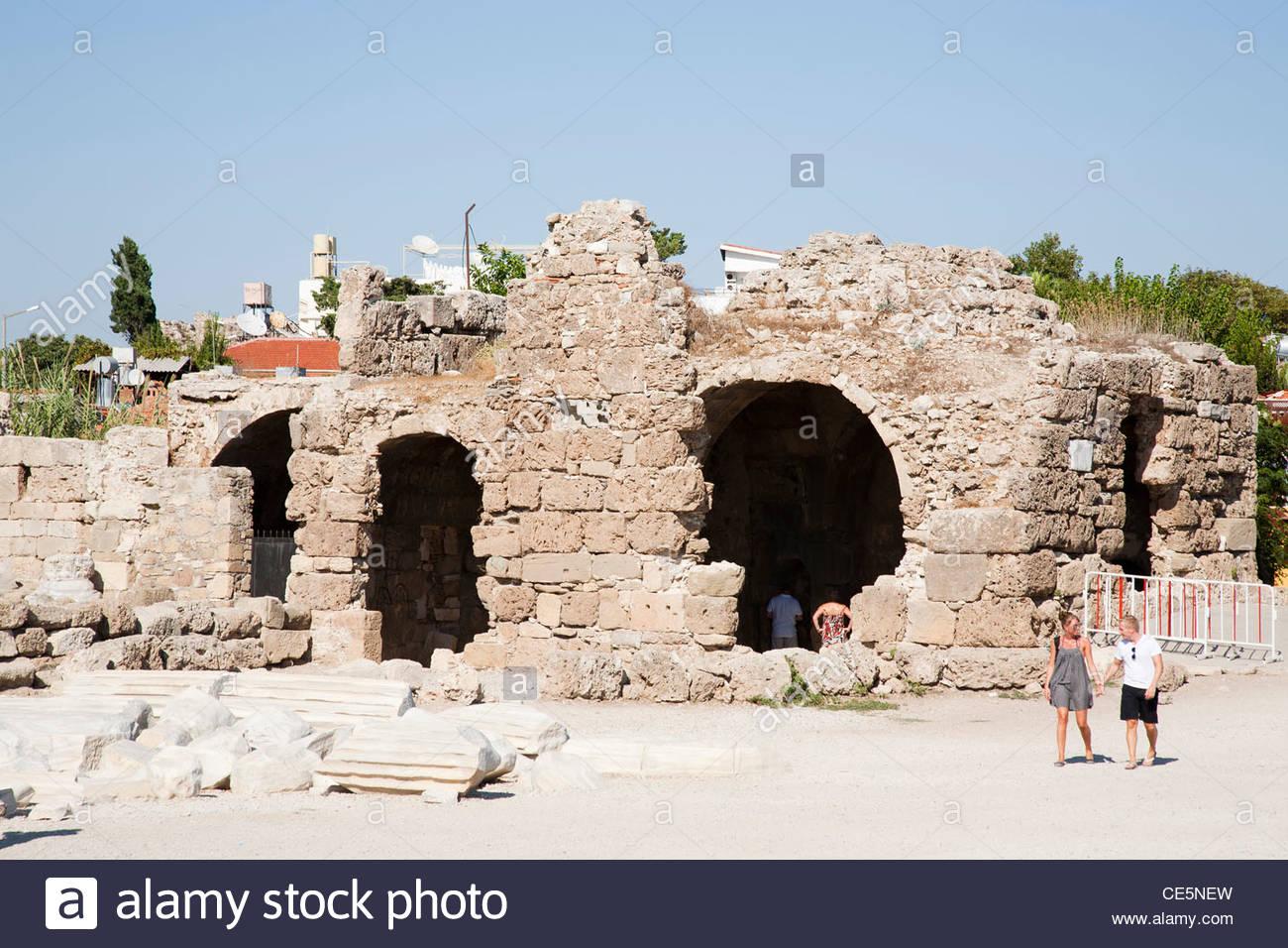 temples of apollo and athena,side,mediterrean coast,turkey,asia - Stock Image