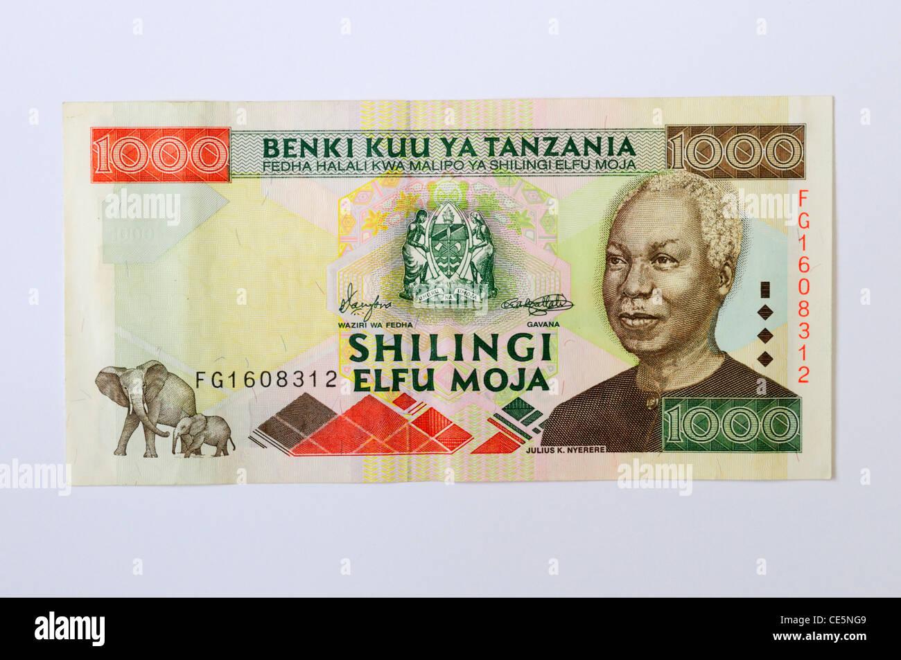 1000 Tanzanian Shilling Banknote - Stock Image