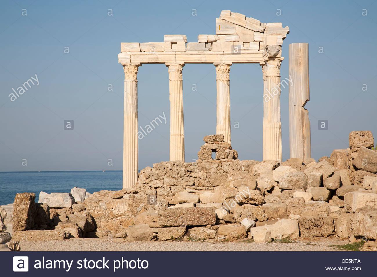 temple of apollo,side,mediterrean coast,turkey,asia - Stock Image