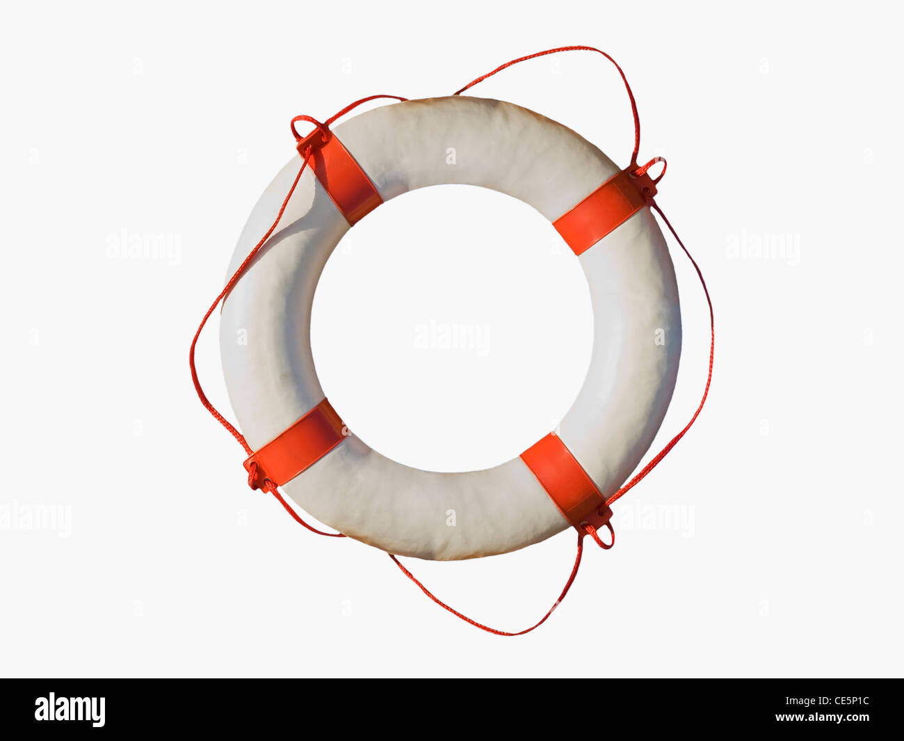 Detailansicht eines Rettungsringsauf weißem Hintergrund | Detail photo of a lifebuoy, white background - Stock Image