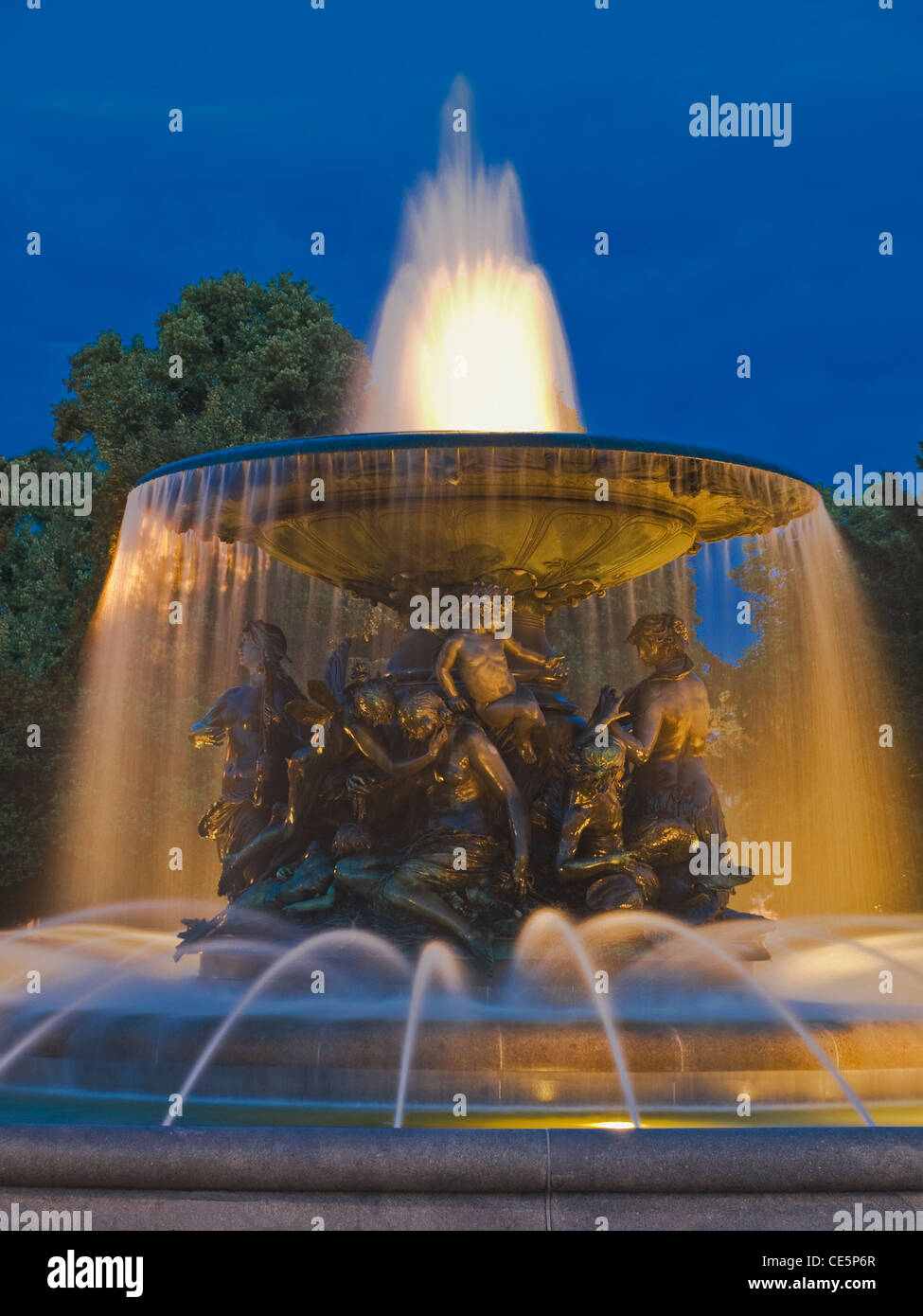 Fountain Silent Water, Albert Square, Dresden, Saxony, Germany, Europe - Stock Image