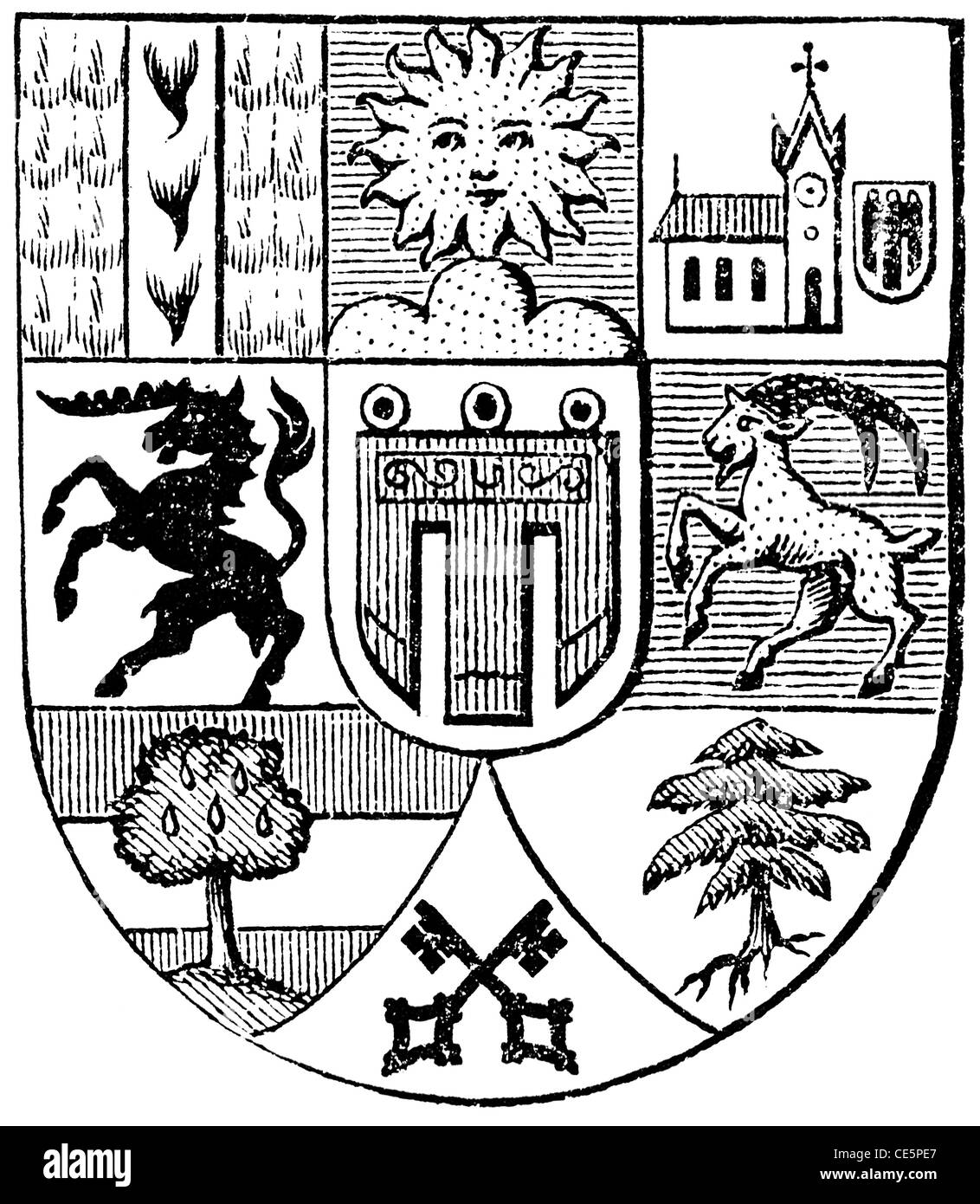 Coat of arms of Vorarlberg, (Austro-Hungarian Monarchy). - Stock Image