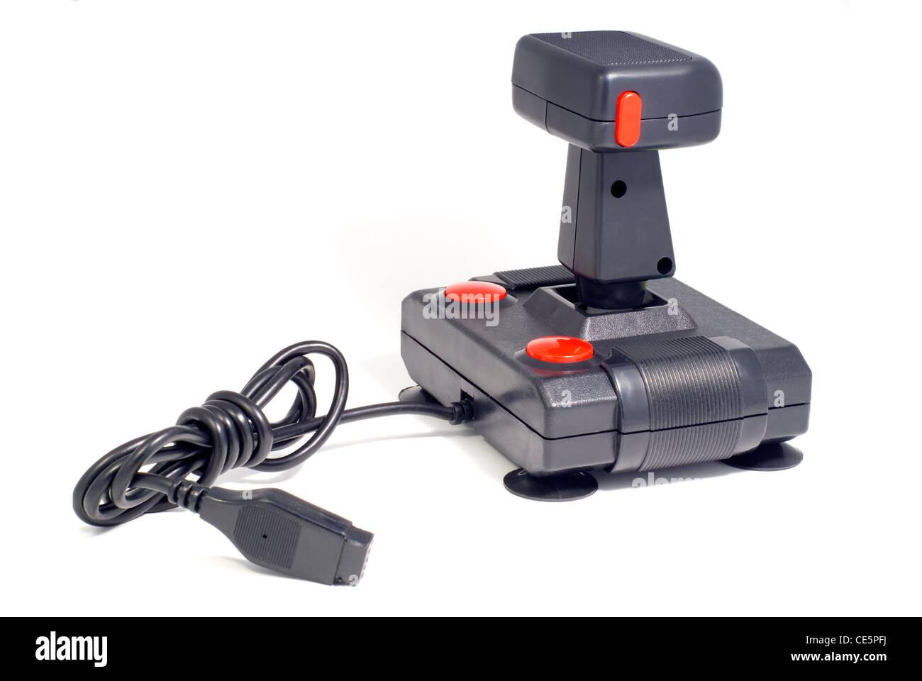 Close up of a nineteen eighties vintage joystick, studio isolated on white. - Stock Image