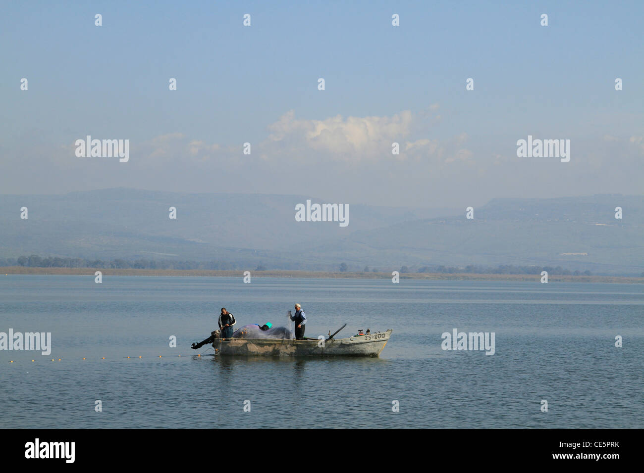 Israel, Sea of Galilee, a fishing boat by the coast of Capernaum Stock Photo