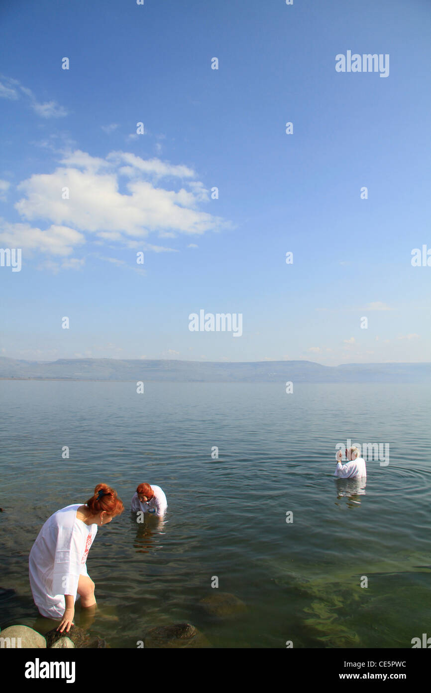 Israel, Capernaum, baptism at the Sea of Galilee Stock Photo