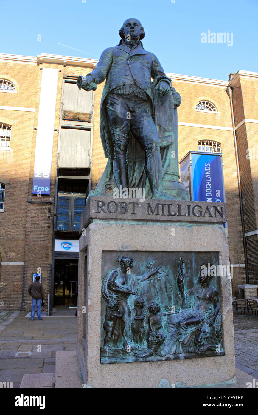 Robt Milligan statue outside Museum of London, West India Quay, Docklands, London England UK - Stock Image