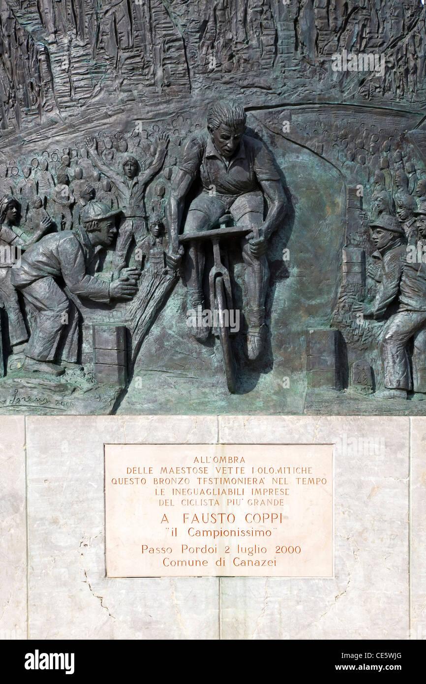 Memorial to Fausto Coppi on the Pordoi Pass, Dolomite Alps Italy Europe - Stock Image